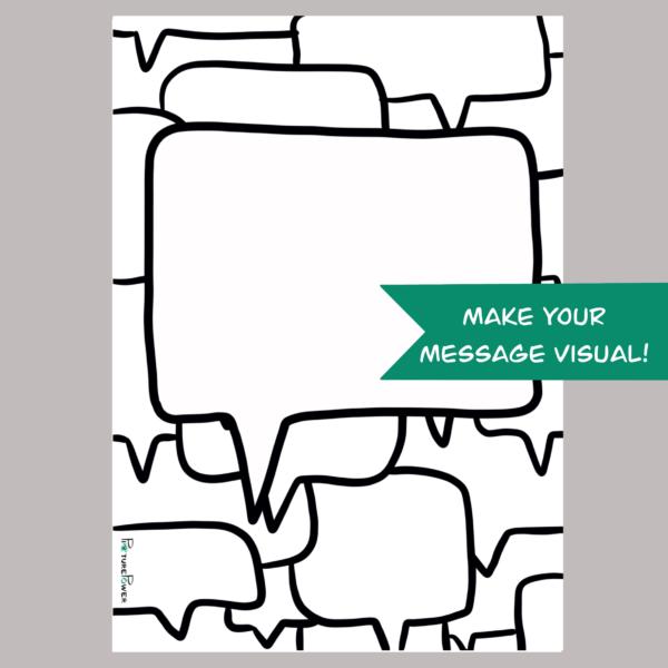 Tekstballon Make Your Message Visual Kaart Shop