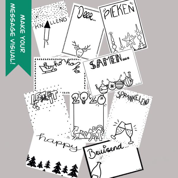 Set kerst nieuwjaar Make Your Message Visual Kaart Shop